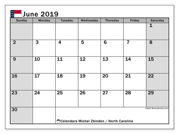 June 2019 Calendar, with the holidays of North Carolina. Free printable calendar with public holidays.
