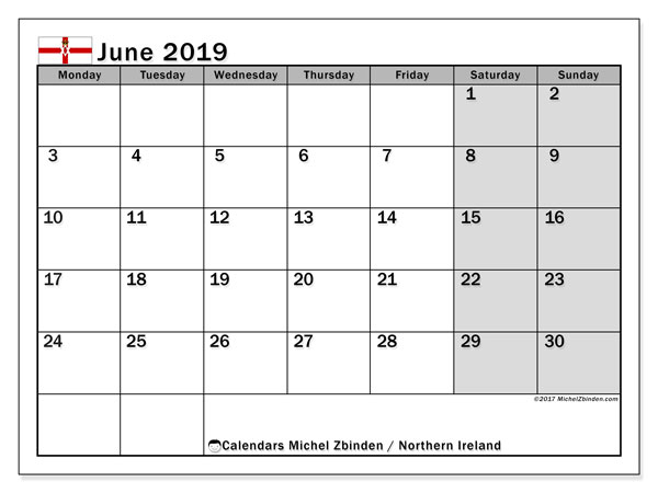 June 2019 Calendar  - Northern Ireland. Printable calendar: bank holidays.