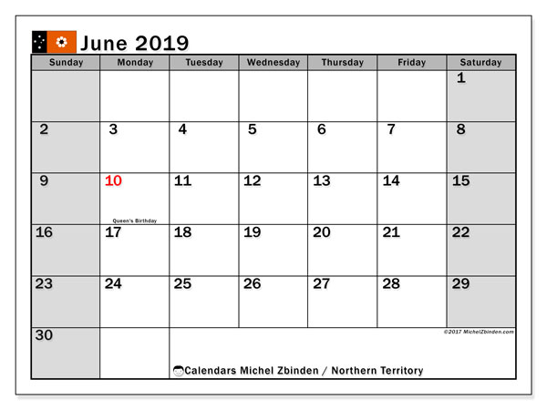 Calendar June 2019, with the holidays of Northern Territory. Free printable calendar.