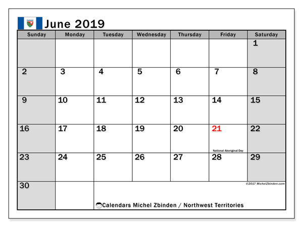 Calendar Northwest Territories, June 2019