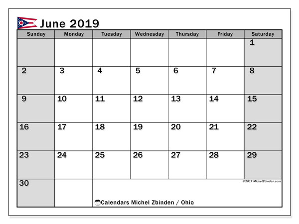 June 2019 Calendar, with the holidays of Ohio. Free printable calendar with public holidays.