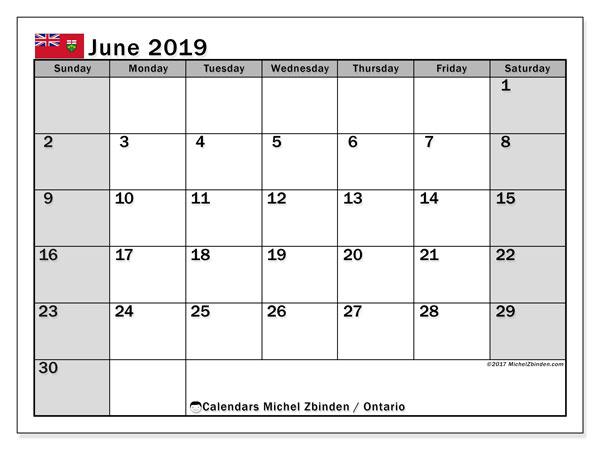 Calendar June 2019, with the holidays of Ontario. Free printable calendar.