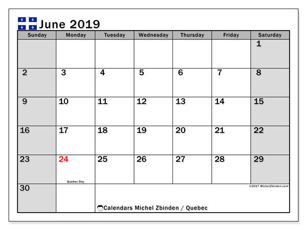 Calendar June 2019, with the holidays of Quebec. Free printable bullet journal.