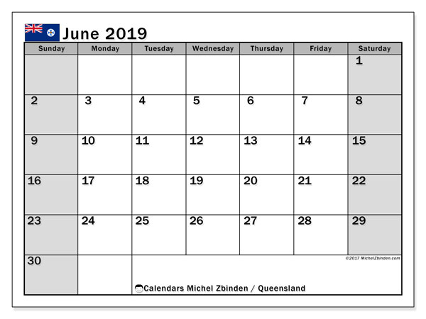 Calendar June 2019, with the holidays of Queensland. Free calendar to print.