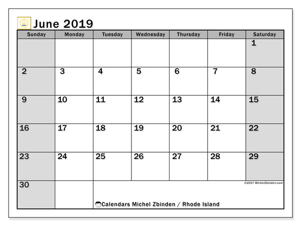 June 2019 Calendar, with the holidays of Rhode Island. Free printable calendar with public holidays.