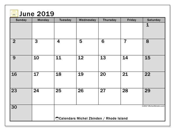 June 2019 Calendar, with the holidays of Rhode Island. Holidays calendar to print free.