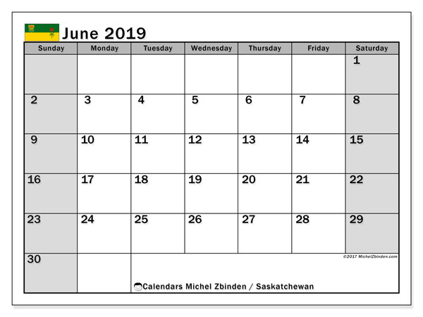 Calendar June 2019, with the holidays of Saskatchewan. Free printable monthly planner.