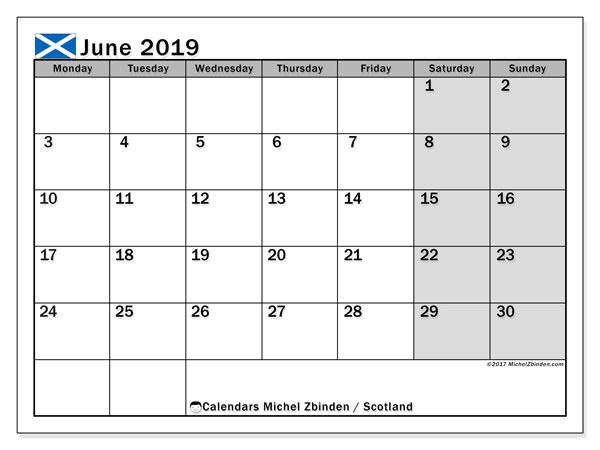 June 2019 Calendar Scotland Uk Michel Zbinden En