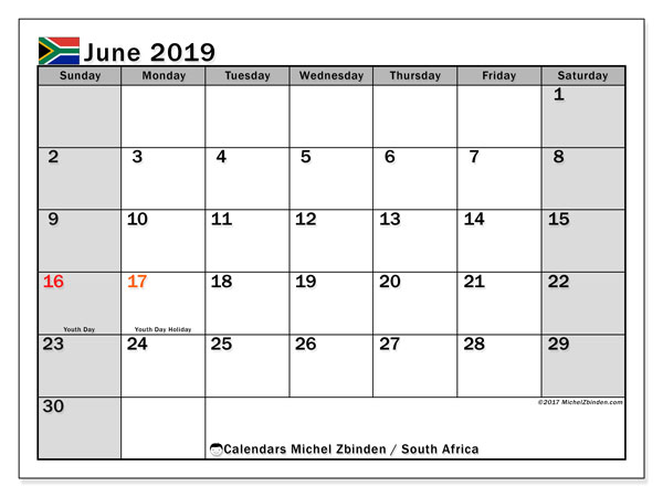 Calendar June 2019, with the holidays of South Africa. Free printable monthly planner.