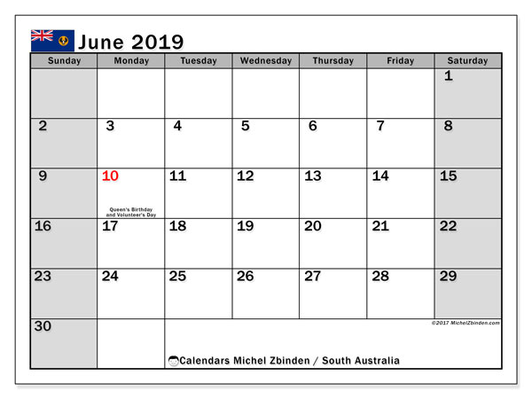 Calendar June 2019, with the holidays of South Australia. Free printable monthly calendar.