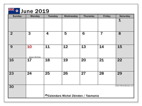 Calendar June 2019, with the holidays of Tasmania. Free printable calendar.