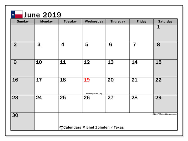 June 2019 Calendar, with the holidays of Texas. Free printable calendar with public holidays.