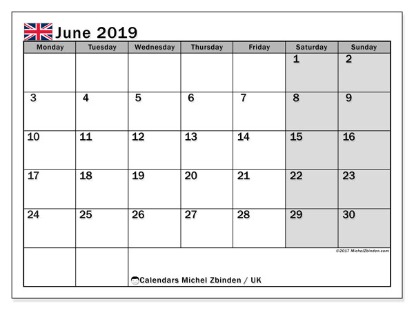 June 2019 Calendar  - UK. Printable calendar: public holidays.