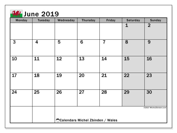 Calendar June 2019, with the holidays of Wales. Free bullet journal to print.