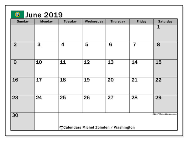 June 2019 Calendar, with the holidays of Washington. Free printable calendar with public holidays.