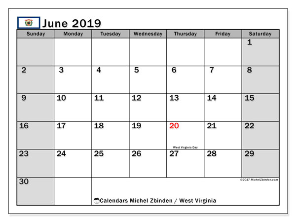 June 2019 Calendar, with the holidays of West Virginia. Free printable calendar with public holidays.