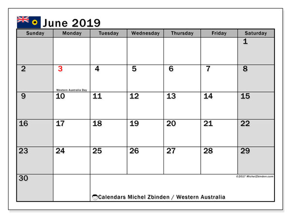 Calendar June 2019, with the holidays of Western Australia. Planner to print free.