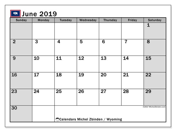 June 2019 Calendar, with the holidays of Wyoming. Free printable calendar with public holidays.
