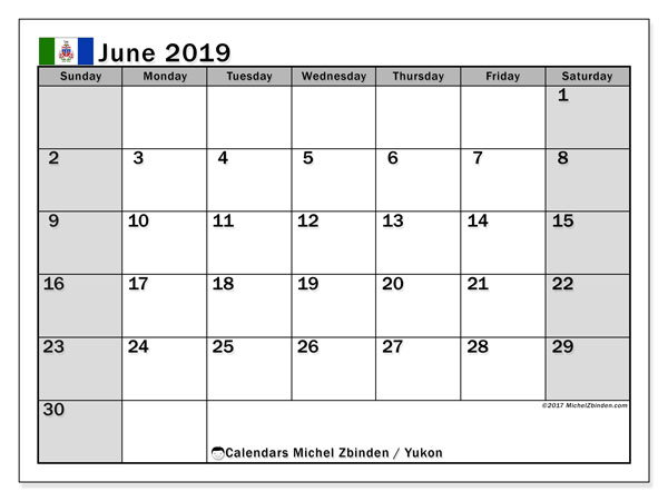 Calendar June 2019, with the holidays of Yukon. Monthly planner to print free.