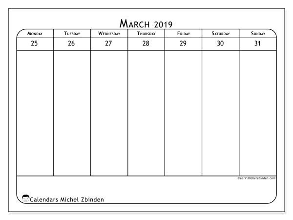 March 2019 Calendar, 43-5MS. Free printable weekly calendar.