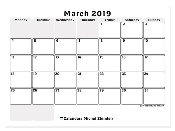 March 2019 Calendars (MS).  44MS.