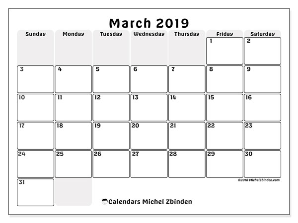 image relating to March Printable Calendar called March 2019 Calendars (SS) - Michel Zbinden EN