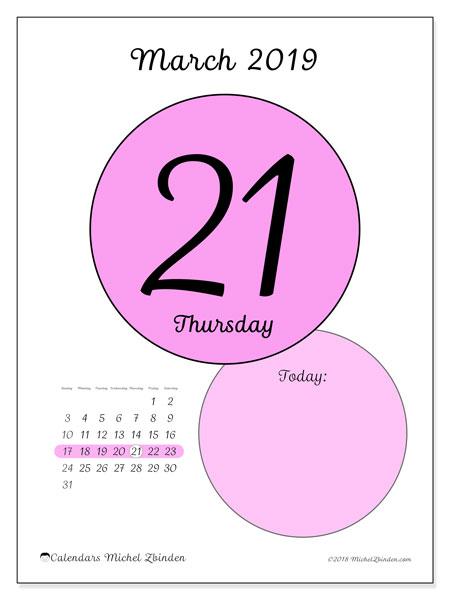 March 2019 Calendar, 45-21SS. Daily calendar to print free.