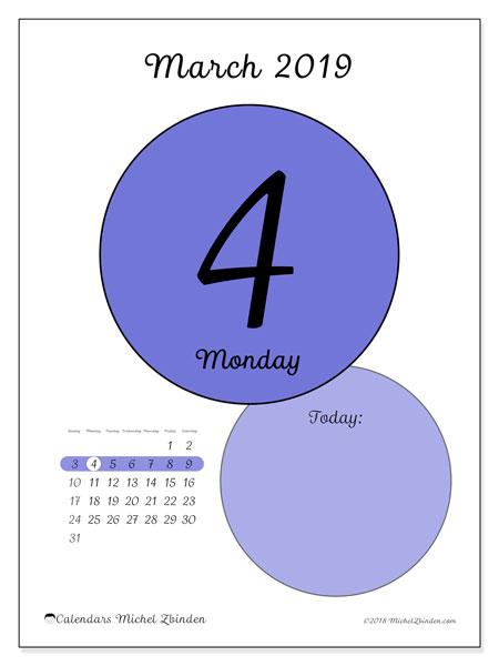 March 2019 Calendar, 45-4SS. Free printable daily calendar.