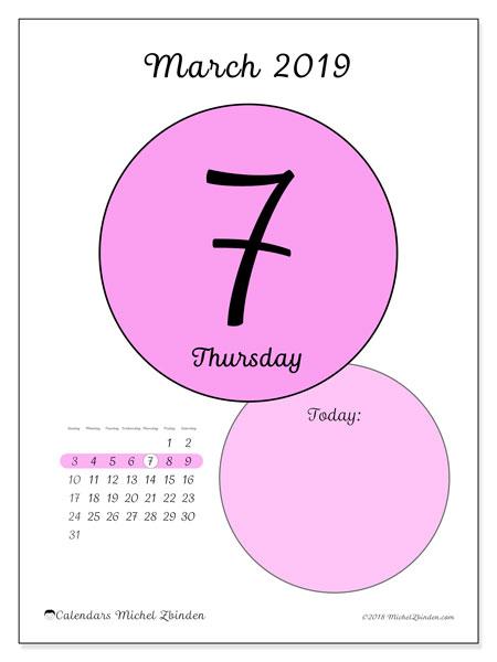 March 2019 Calendar, 45-7SS. Daily calendar to print free.