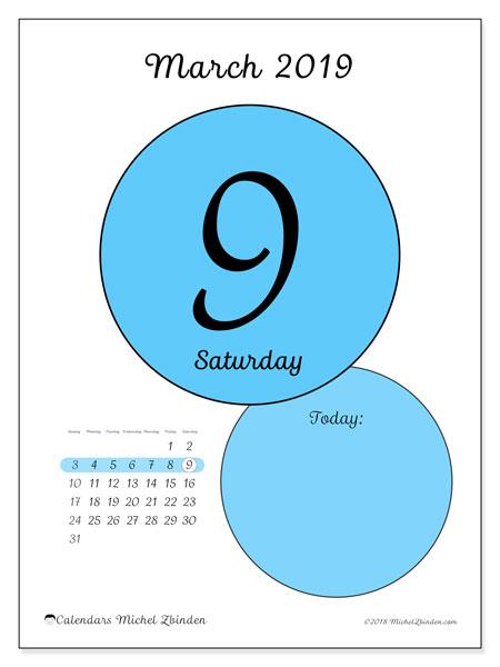 March 2019 Calendar, 45-9SS. Free printable daily calendar.