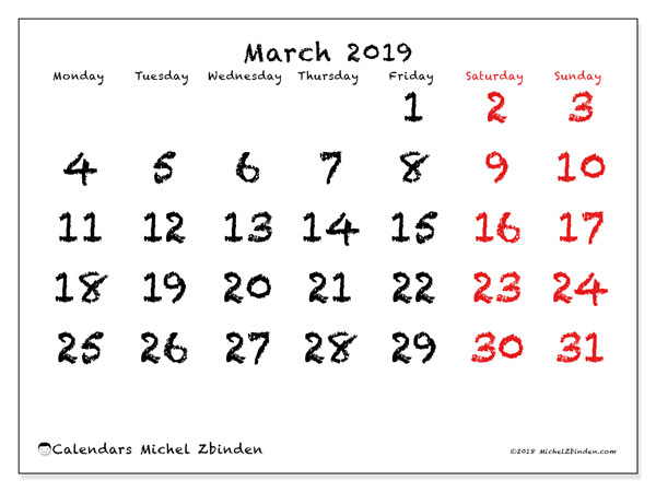 March 2019 Calendars (MS).  46MS.