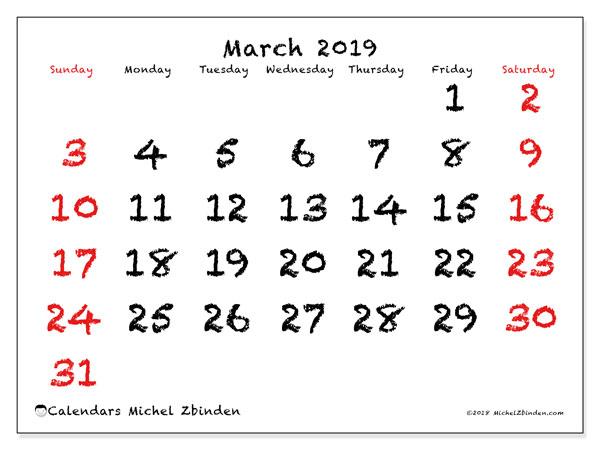 Calendar  March 2019, 46SS