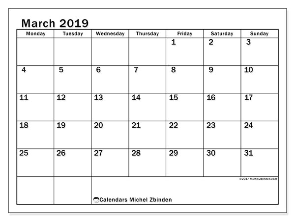 March 2019 Calendars (MS).  50MS.