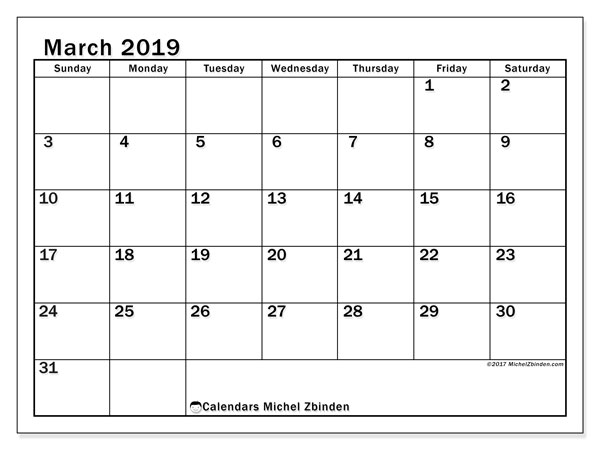Calendar  March 2019, 50SS