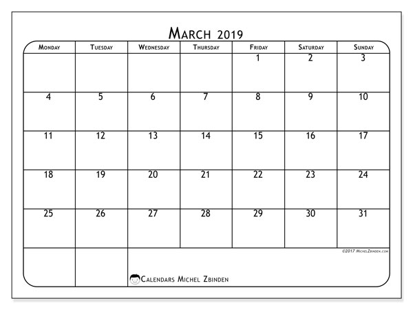 March 2019 Calendars (MS).  51MS.