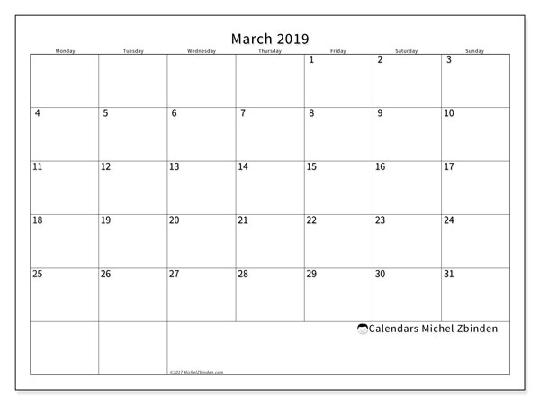 March 2019 Calendars (MS).  53MS.