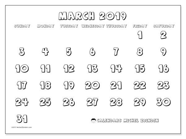 Calendar  March 2019, 56SS