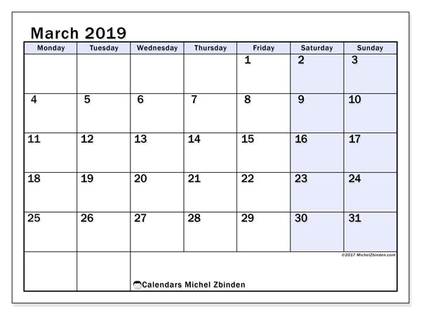March 2019 Calendars (MS).  57MS.