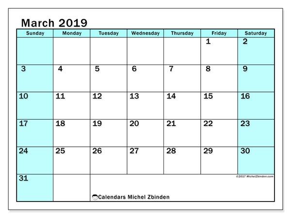 Calendar  March 2019, 59SS