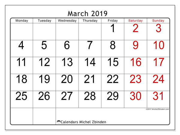 March 2019 Calendars (MS).  62MS.