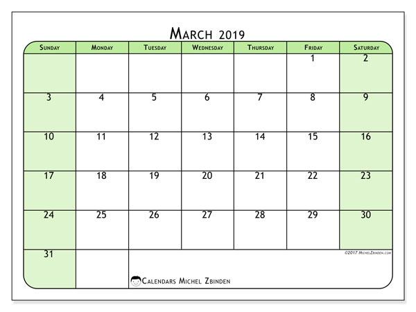 Calendar  March 2019, 65SS