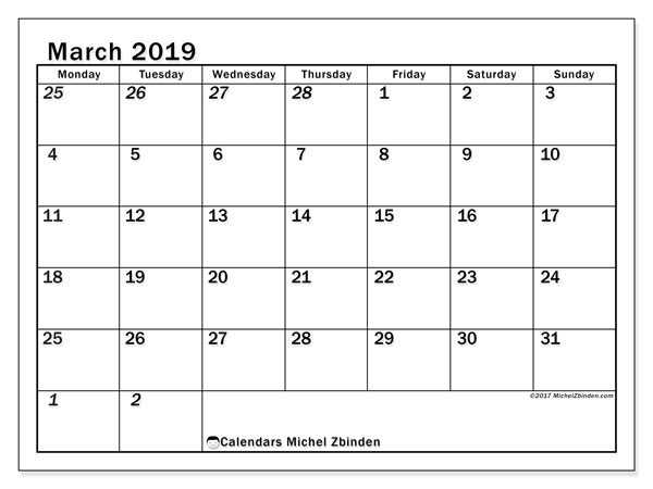 March 2019 Calendars (MS).  66MS.