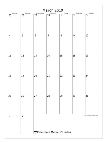 Calendar  March 2019, 68MS