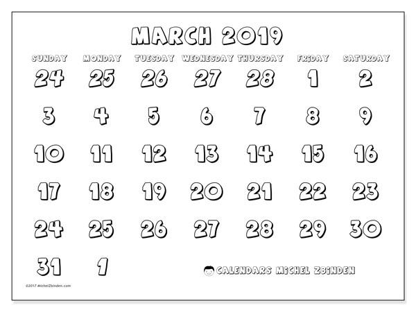 Calendar  March 2019, 71SS