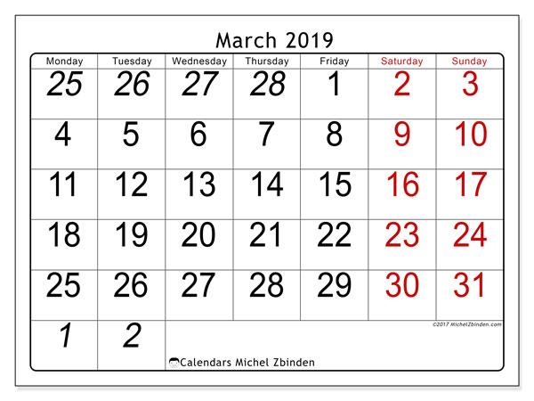Calendar  March 2019, 72MS