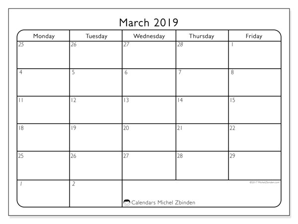 March 2019 Calendars (MS).  74MS.