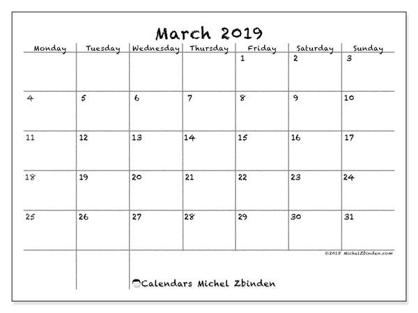 Calendar  March 2019, 77MS