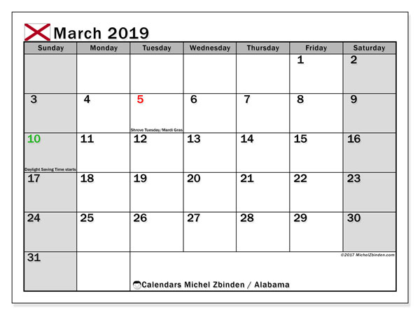 March 2019 Calendar, with the holidays of Alabama. Holidays calendar to print free.