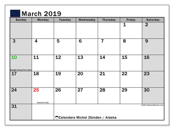 Calendar March 2019, with the holidays of Alaska. Free calendar to print.