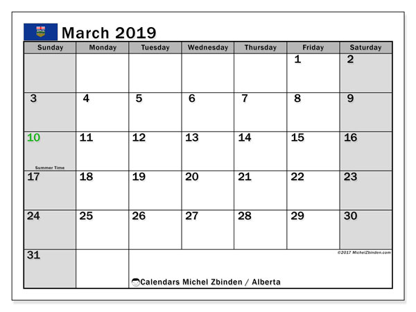 Calendar March 2019, with the holidays of Alberta. Free printable monthly calendar.